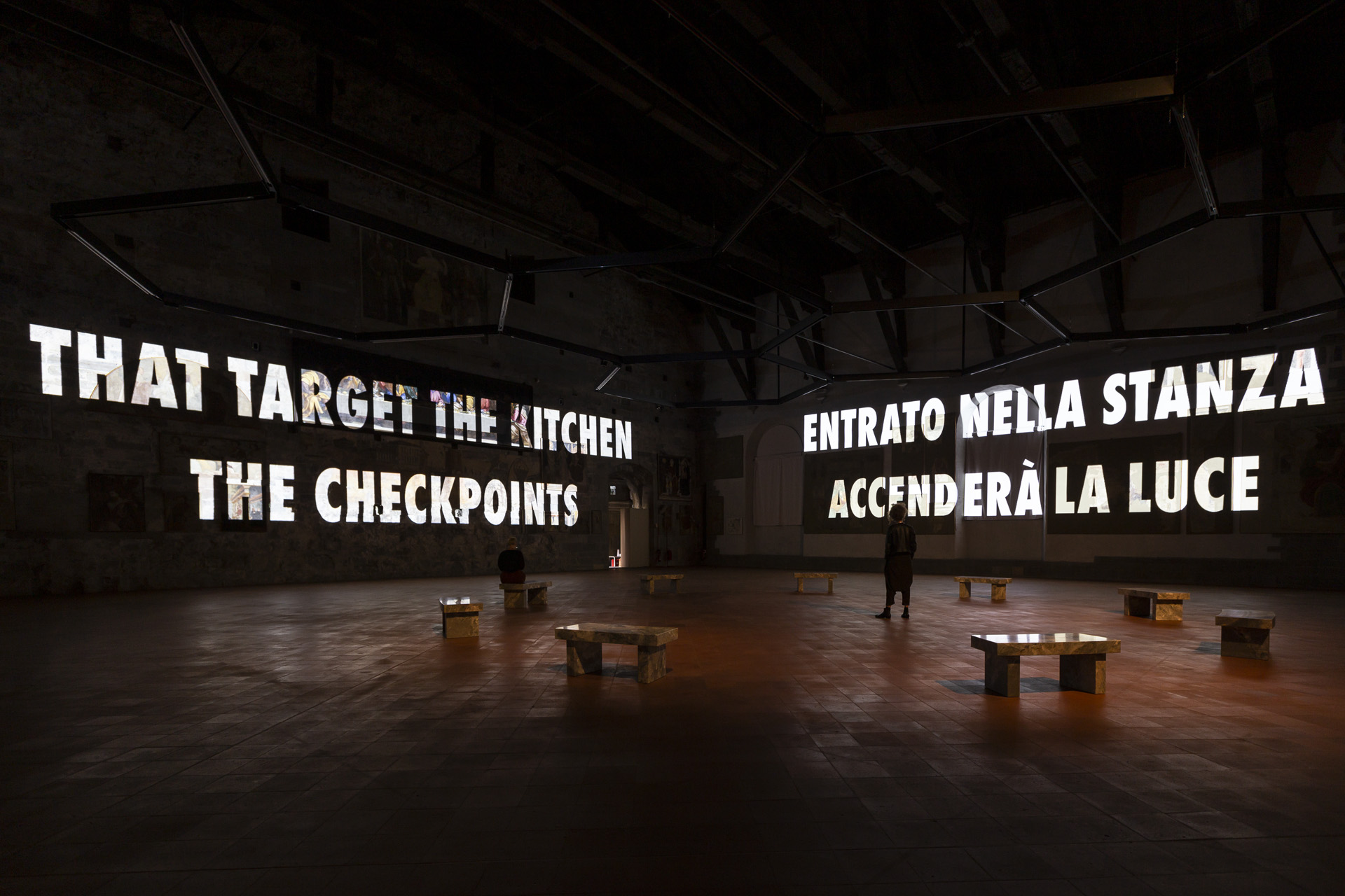 Tutta la Verità (The Whole Truth), GAMeC, Palazzo della Ragione, Bergamo, Italy, 2019 © 2019 Jenny Holzer, member Artists Rights Society (ARS), NY