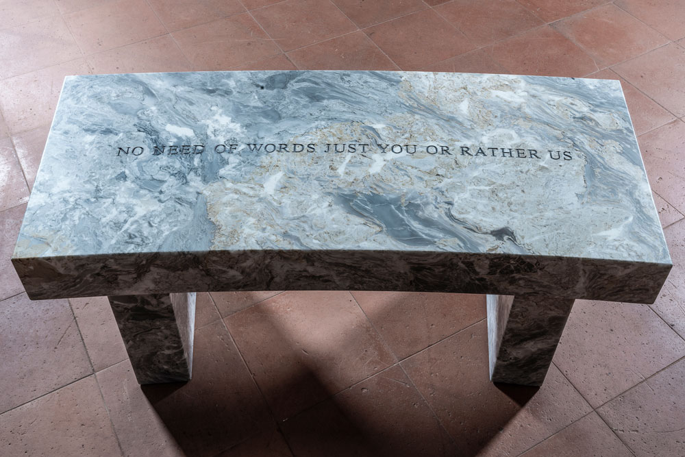 Just You, 2019. Curved Versilys Gold marble bench. 17 x 41.75 x 18 in. / 43.2 x 106 x 45.7 cm